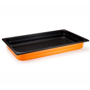M & T  Gastronorm bak 1/2 rvs diepte 65 mm  met anti-kleeflaag  zwart/geel