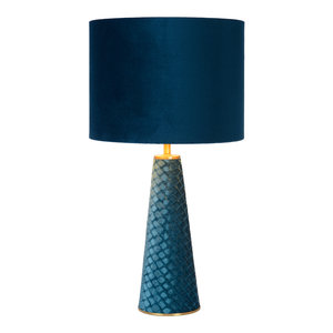 M & T  Table lamp EXTRAVAGANZA VELVET  Ø 25 cm - 1xE27 included - Turquoise