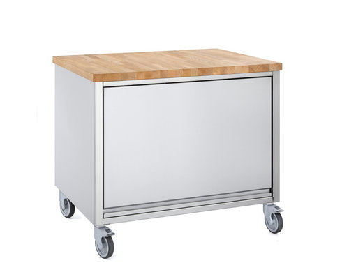 M & T  Mobile bread making work station with wooden top 80 x 60 x h 90 cm