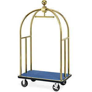 M & T  Bird cage luggage trolley gold color with blue carpet