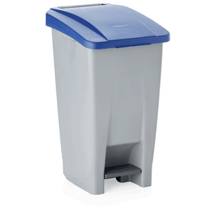 M & T  Pedal bin 120 liter with blue lid , with 2 castors