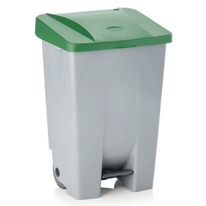 M & T  Pedal bin 120 liter with green lid , with 2 castors