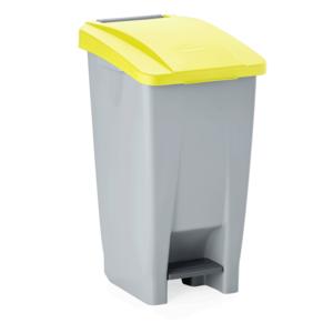 M & T  Pedaalemmer 120 liter met geel deksel , voorzien van 2 wielen
