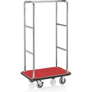 M & T  Bagagewagen roestvrijstaal met rood tapijt