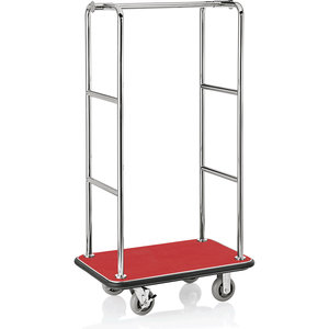 M & T  Luggage trolley stainless steel with red carpet