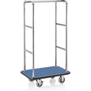 M & T  Luggage trolley stainless steel with blue carpet