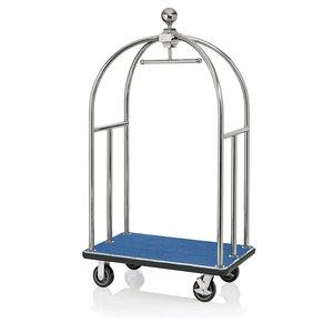 """M & T  Bagage wagen """" Bird cage """" roestvrijstaal met blauw tapijt"""