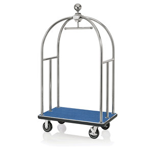 M & T  Bird cage luggage trolley stainless steel with blue carpet