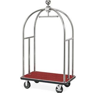 """M & T  Bagage wagen """" Bird cage """" roestvrijstaal met rood tapijt"""