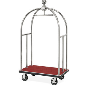 M & T  Bird cage luggage trolley stainless steel with red carpet