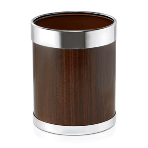 M & T  Bin for rooms round Ø 22 cm wooden look