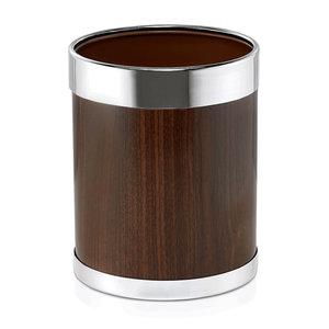 M & T  Vuilbakje rond Ø 22 cm, bruin, gepoedercoat staal met houten look