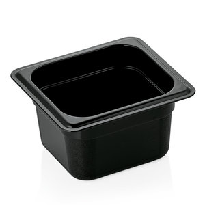 M & T  GN 1/6 zwart polycarbonaat diepte 200 mm