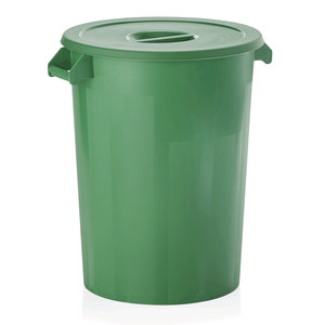 M & T  Storage bin with lid , green PP , Content 100 liter