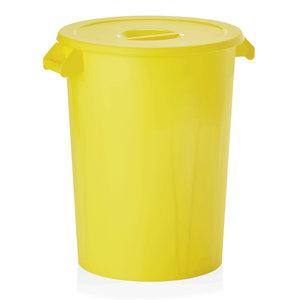 M & T  Opslagcontainer met deksel voor ingrediënten, PP  geel , inhoud : 100 liter