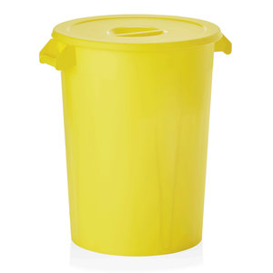 M & T  Storage bin with lid , yellow PP , Content 100 liter