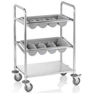M & T  Flatware trolley stainless steel incl. 2 plastic flatware trays