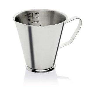 M & T  Maatbeker 2 liter roestvrijstaal 18/10  met maatverdeling  per 100 ml