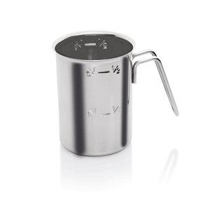 M & T  Measuring jug 0,5 liter stainless steel 18/10, graduated  at 250 ml
