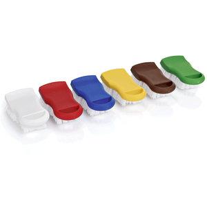 M & T  Borstels 15 cm HACCP voor het reinigen van gekleurde snijplanken,  set van 6 stuks  in 6 kleuren