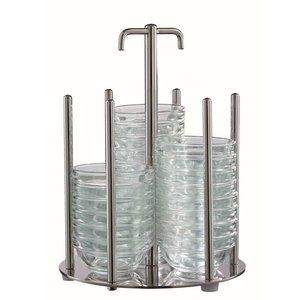 M & T  Houder rvs  inclusief  48 glazen kommetjes  Ø  6 cm