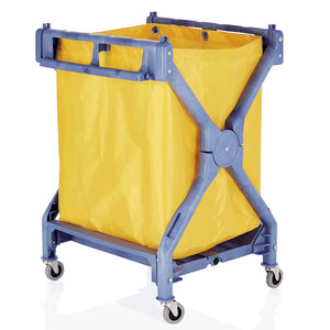 M & T  Linen trolley blue plastic frame with yellow nylon bag foldable