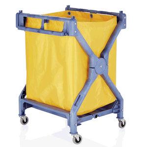 M & T  Linnen wagen - Wasgoedwagen blauwe kunststof frame met nylon zak opvouwbaar model