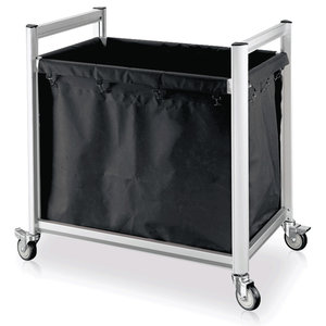 M & T  Linen trolley aluminium frame with black polyester bag