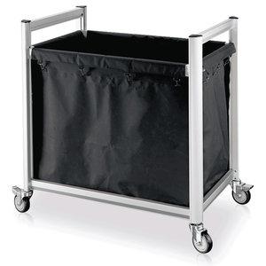 M & T  Linnen wagen - Wasgoedwagen aluminium frame met zwarte polyester zak