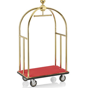 M & T  Bird cage luggage trolley gold color with red carpet