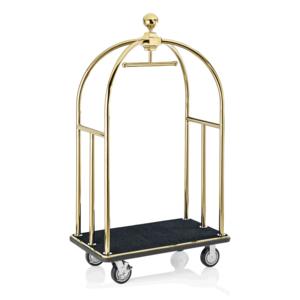 """M & T  Bagage wagen """" Bird cage """" goudkleurig met zwart tapijt"""