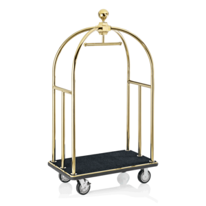 M & T  Bird cage luggage trolley gold color with black carpet