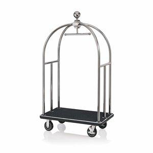 """M & T  Bagage wagen """" Bird cage """" roestvrijstaal met zwart tapijt"""