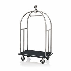 M & T  Bird cage luggage trolley stainless steel with black carpet