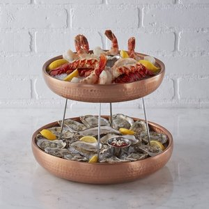 M & T  Seafood presentation with 2 double walled copper seafood trays set 4 pieces