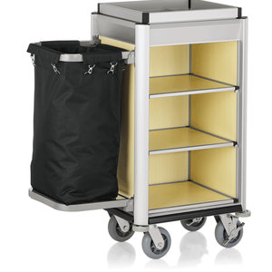 M & T  Roommaid- housekeeping trolley Aluminium frame with MDF light wooden look