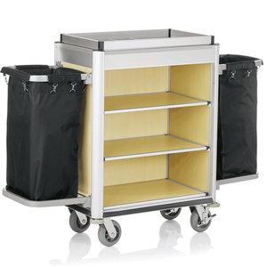 M & T  Kamermeisjeswagen Aluminium frame met MDF in lichte houtlook