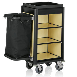 M & T  Roommaid- housekeeping trolley black aluminium frame with MDF light wooden look