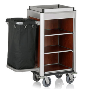 M & T  Roommaid- housekeeping trolley Aluminium frame with MDF dark wooden look