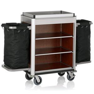 M & T  Roommaid- housekeeping trolley Aluminium frame with MDFdark wooden look