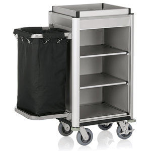 M & T  Roommaid- housekeeping trolley Aluminium frame with MDF aluminium look