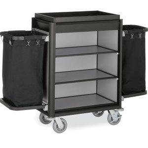 M & T  Roommaid- housekeeping trolley black aluminium frame with MDF aluminium look