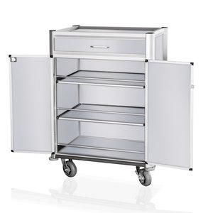 M & T  Minibar refill trolley aluminium frame with MDF aluminium look