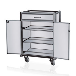 M & T  Minibar wagen zwart aluminium frame met MDF aluminium look
