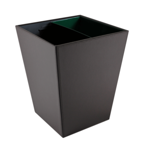 M & T  Trash bin black PU leather 12 liter with 2 metal inner bins to seperate waste