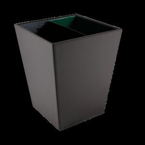 M & T  Vuilbakje zwart PU leder 12 liter met 2 metalen inzetten