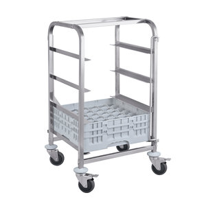 M & T  Trolley for dishwasher racks with 4 levels