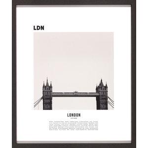 M & T  Fotolijst zwart hout 42 x 50 cm 3 stuks London, New York en Rio
