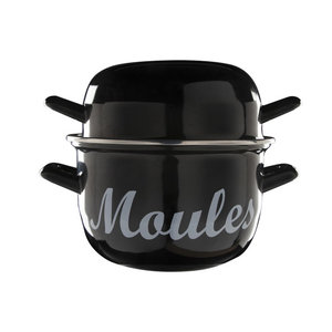 "M & T  Mosselpot zwart met opdruk "" Moules "" 2,8 liter"