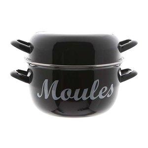 "M & T  Mosselpot zwart met opdruk "" Moules """
